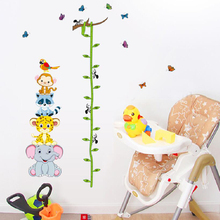 Cute height measure wall stickers for kids rooms removable cartoon nursery decals vinyl baby bedroom animals poster
