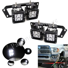 цена на Papanda 16W Dual LED Fog Light Pods w/ Metal Bumper Mounting Bracket for 2009-2012 Dodge RAM 1500 2010-2018 Dodge RAM 2500 3500