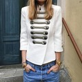 S-XXL Size Black and White Color Girl's Double Breasted Casual Slim Jacket Fashion Celebrity Outerwear