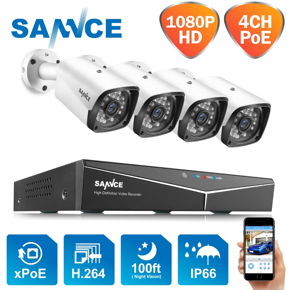 SANNCE 4CH 1080P POE H 264 Video Security System 4pcs 2MP Outdoor Weatherproof Infrared Night Vision
