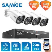 SANNCE 4CH 1080P POE H.264 Video Security System 4pcs 2MP Outdoor Weatherproof Infrared Night Vision IP Camera Wireless NVR Kit цена