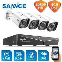 SANNCE 4CH 1080P POE H.264 Video Security System 4pcs 2MP Outdoor Weatherproof Infrared Night Vision IP Camera Wireless NVR Kit