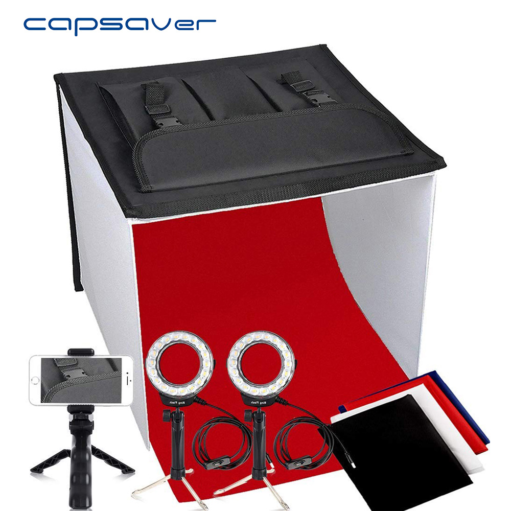 capsaver K40II Foldable Light Box Mini photography Photo Studio Lightbox Photo Box 3200K 9000K CRI85 40cm