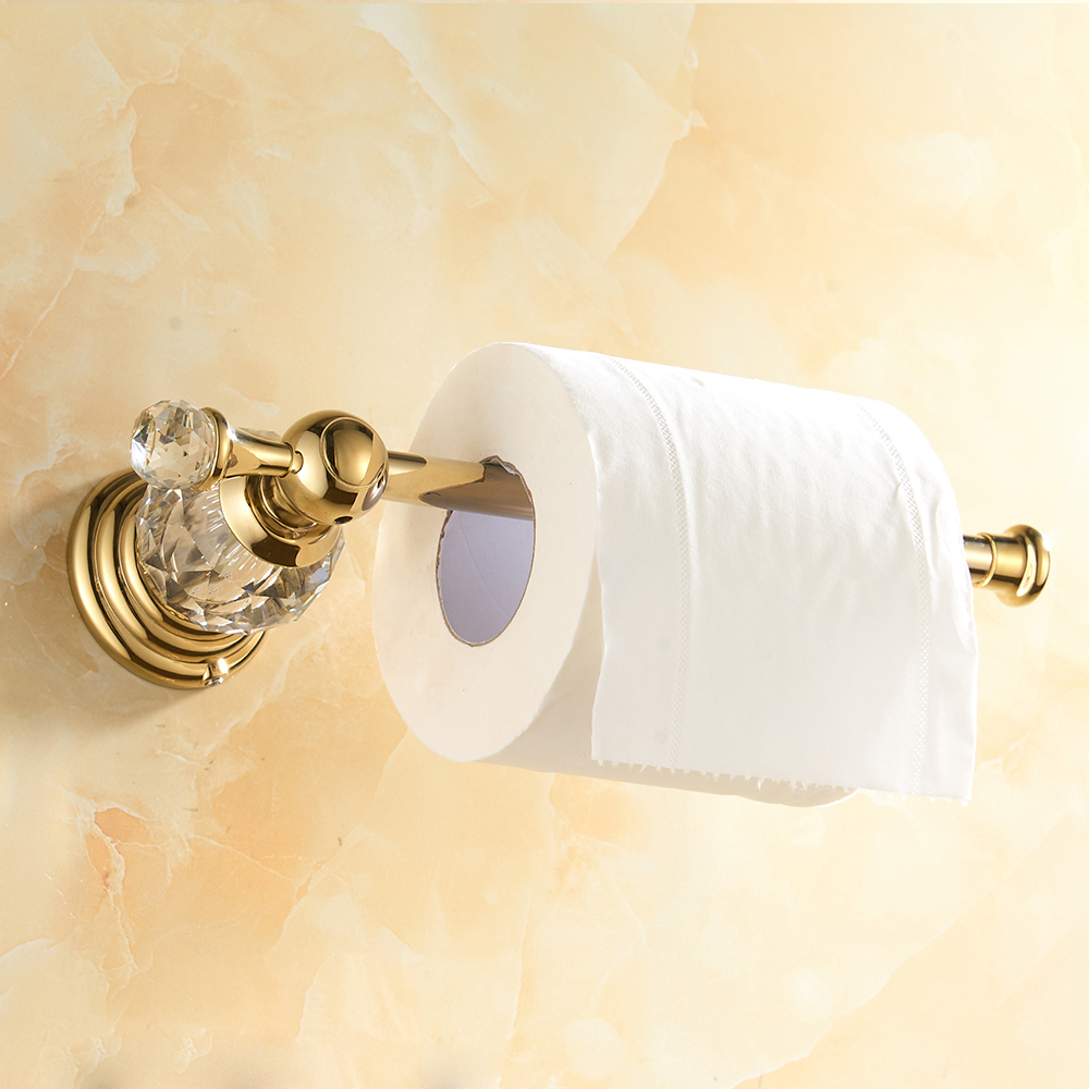 Gold Polished Toilet Paper Holder Solid Brass Bathroom Roll Paper Accessory Wall Mount Crystal Toilet Tissue Paper Holder