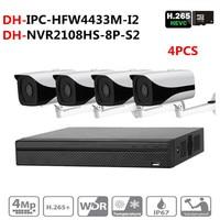 DH NVR Security CCTV Camera Kit NVR NVR2108HS 8P S2 Camera IPC HFW4433M I2 With Bracket DS 1292ZJ Surveillance System