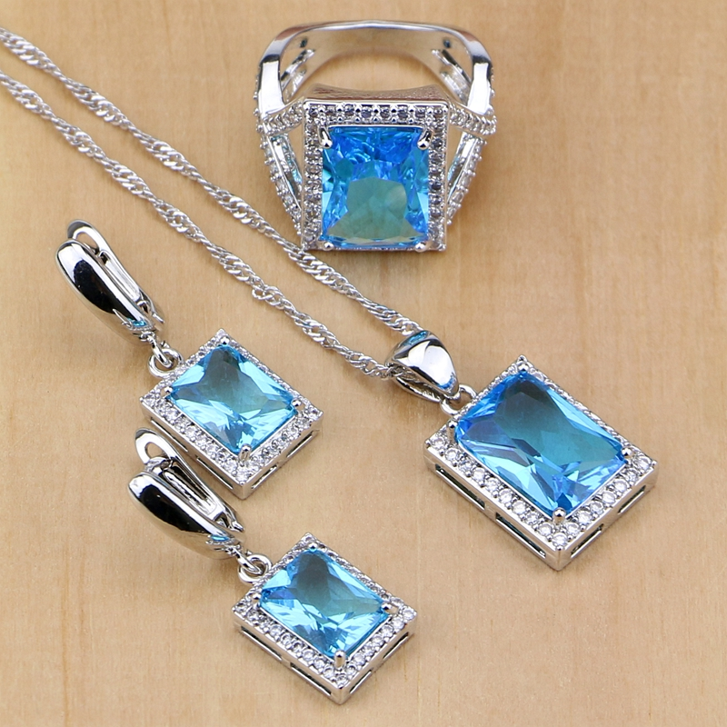 Ethnic 925 Sterling Silver Jewelry Sky Blue Zircon White Crystal Jewelry Sets For Women Earring/Pendant/Necklace/Ring