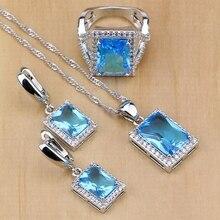 Étnicos 925 joyería de plata esterlina azul cielo ZIRCON BLANCO CRISTAL Juegos de joyería para las mujeres pendiente/colgante/Collar/anillo