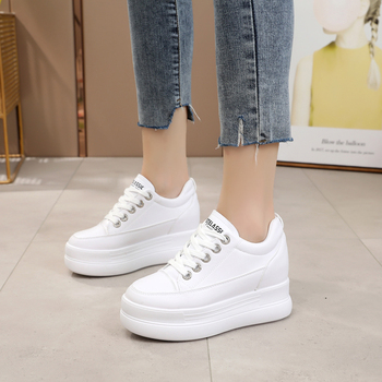 2020 Summer Women Sneakers Mesh Casual Platform Trainers White Shoes 8CM Heels Wedges Breathable Woman Height Increasing Shoes - discount item 49% OFF Shoes