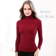 Hoffen Winter Autumn Women's Thermal Underwear Tops Turtleneck Slim Shape Undershirt Breathable Ladies Seamless Underwears WS319