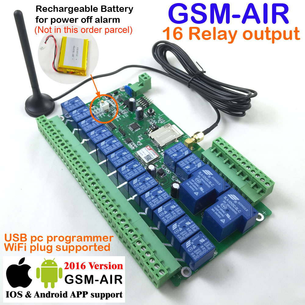Free shipping Post airmail 1pcs 16ch Relay Real-Time GSM Remote Control board Rechargeable battery for power off alarm цена