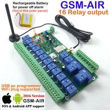 Бесплатная доставка авиапочтой 1 шт. Реле 16-канальный Реального Времени GSM Пульты Дистанционного Управления Аккумуляторная батарея для отключения питания сигнализация