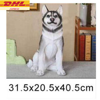 Cute Puppy Statue Simulation Siberian husky Resin Home Decor Art Craft Creative Birthday Gift Boxed 40.5CM D65