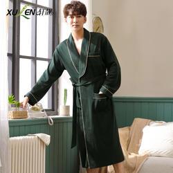 Для мужчин хлопок халат Весна плюс размеры сна и lounge пижамы мужской домашняя Ночная одежда кимоно с длинным рукавом