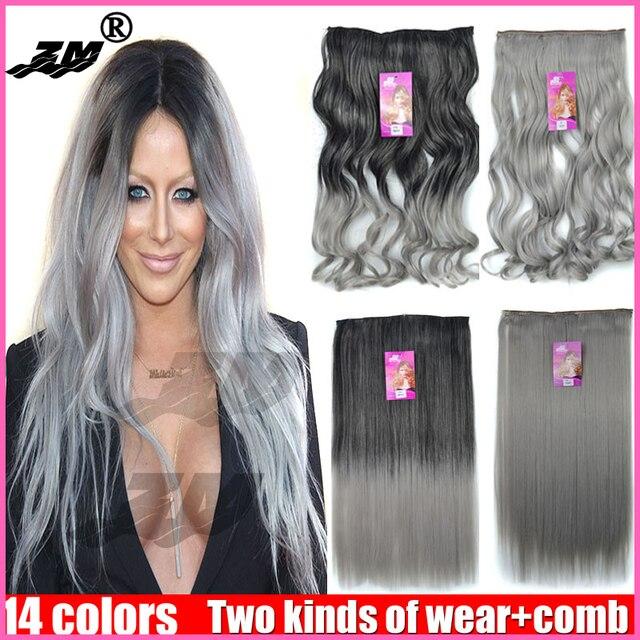 Высокое качество Сеть якорь волос Бабушка Серый Зажим в Волосах женщины длинные Большой волнистые 5 клипы в Выдвижении волос Цвет вьющиеся волос