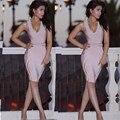 платья женские сексуальный глубокий V-образным Вырезом обнаженная розовый длиной до колен платье повязки женщины vestidos твердые кнопка рукавов платья клуб платья женские