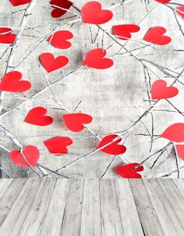 Винил фотографии фонов люблю белый деревянная доска тапочки красные сердца ветви День Святого Валентина Свадебные photo booth