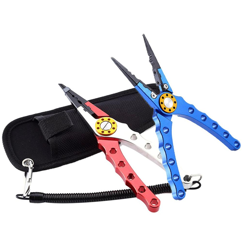 Long Fishing Pliers Stainless Steel Hook Remover Braid Cutters Sheath Lanyard Fresh Water Saltwater