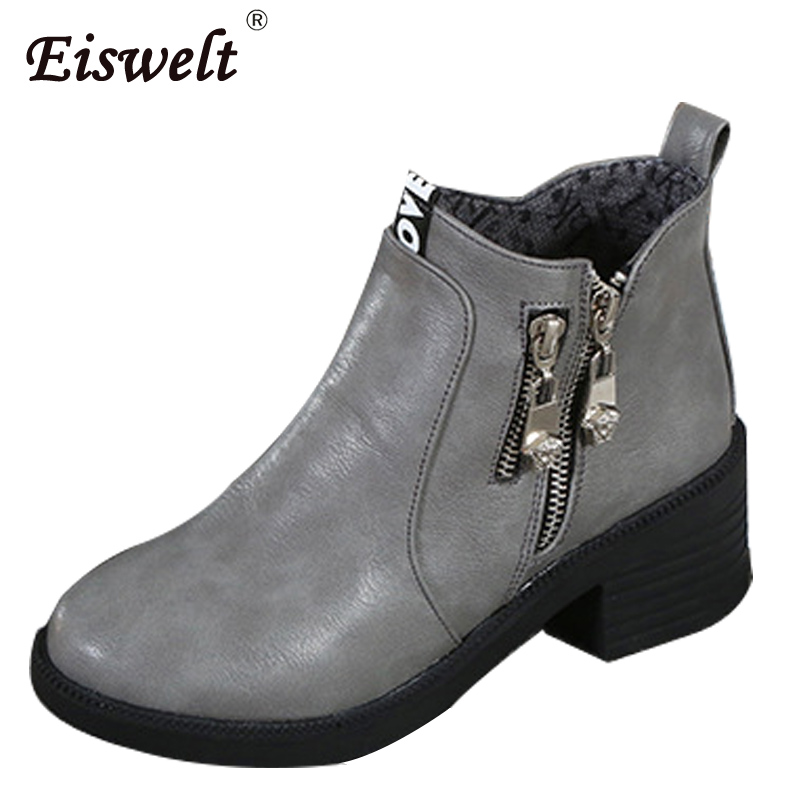 где купить EISWELT Women PU Leather Autumn Winter Boots Platform Heels Ankle Boots Fashion Zipper Solid Round Toe Comforty Shoes#ZQS109 по лучшей цене