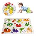 1 Unid Bebé Niños Vegetal De Madera Atractivo de Aprendizaje Temprano Placa de Rompecabezas de la Mano Juguetes Del Regalo Del Bebé