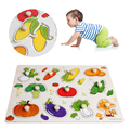 1Pc Baby Children Vegetable Wooden Attractive Early Learning Hand Puzzle Plate Toys Baby Gift