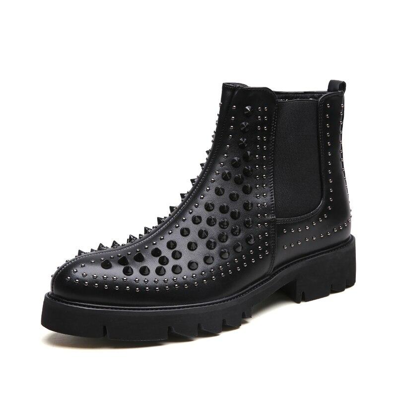 Inglaterra marca diseño hombres casual cuero genuino remaches Zapatos negro escenario club nocturno plataforma motocicleta tobillo botas chelsea-in Botinas from zapatos    2