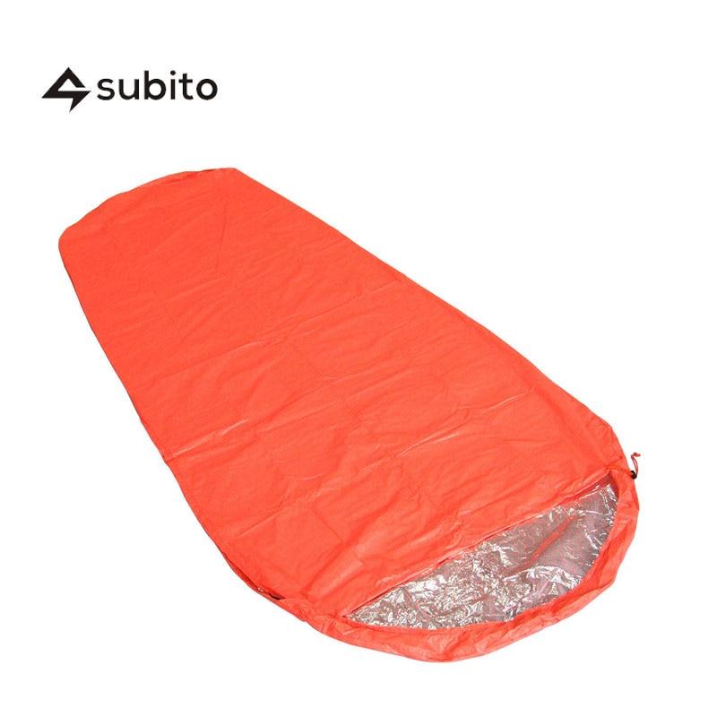 SUBITO Single Person Sleeping <font><b>Bag</b></font> Outdoor Camping Mummy Style Thermal Reflection Sleeping <font><b>Bags</b></font> Mummy Survival Blanket