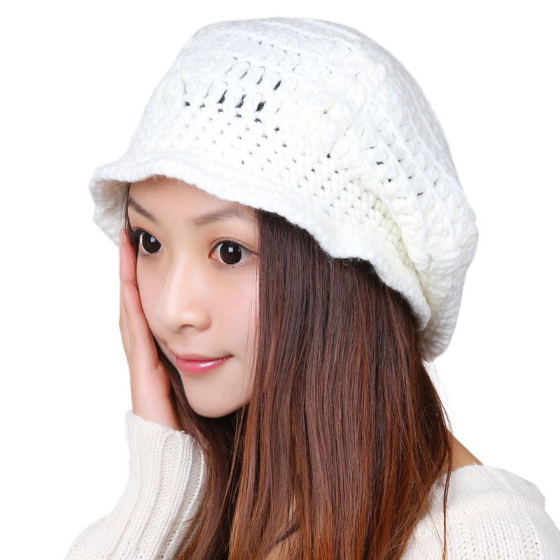 BomHCS Simple Fashion Pure Handmade Knitted Hat Women Winter Warm Knit Beanie Hats Cap Skully bomhcs cute women autumn winter warm thick handmade knit hats beanie cap hat