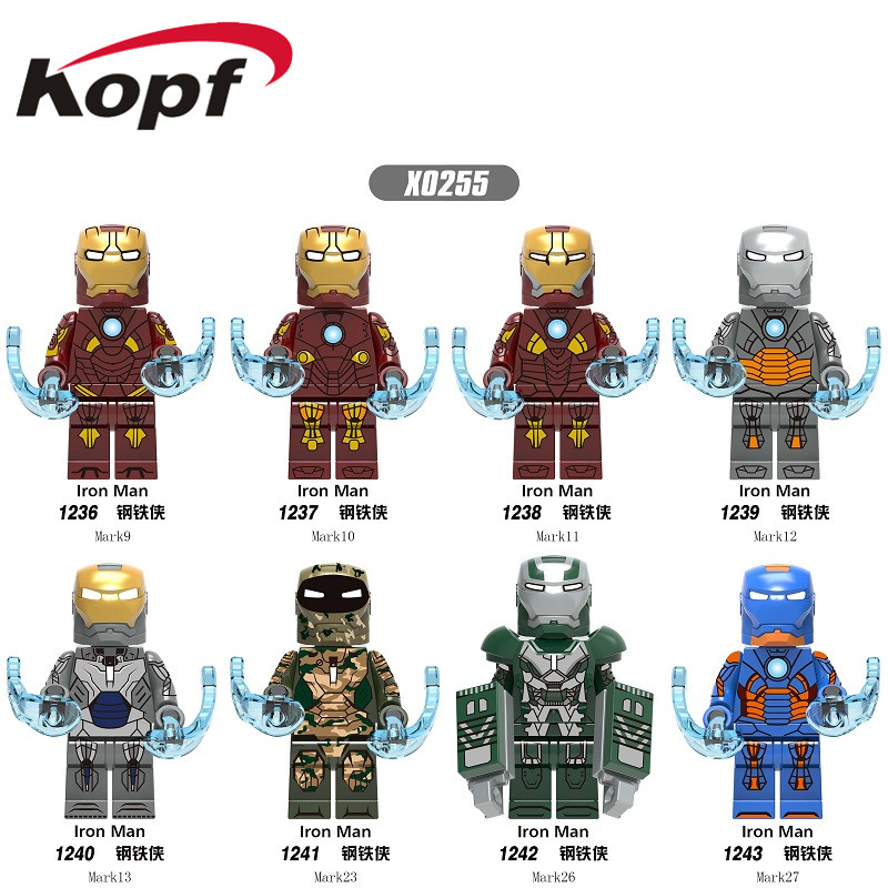 Single Sale Super Heroes Building Blocks Iron Man Mark9 Mark10 Mark11 Mark12 Mark13 Figures Bricks Model Toys For Children X0255