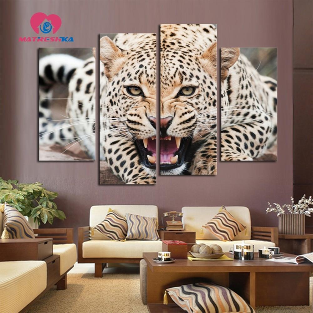 Diamant broderie animaux léopard diamant peinture strass carrés motif mosaïque point de croix ensembles peintures modulaires