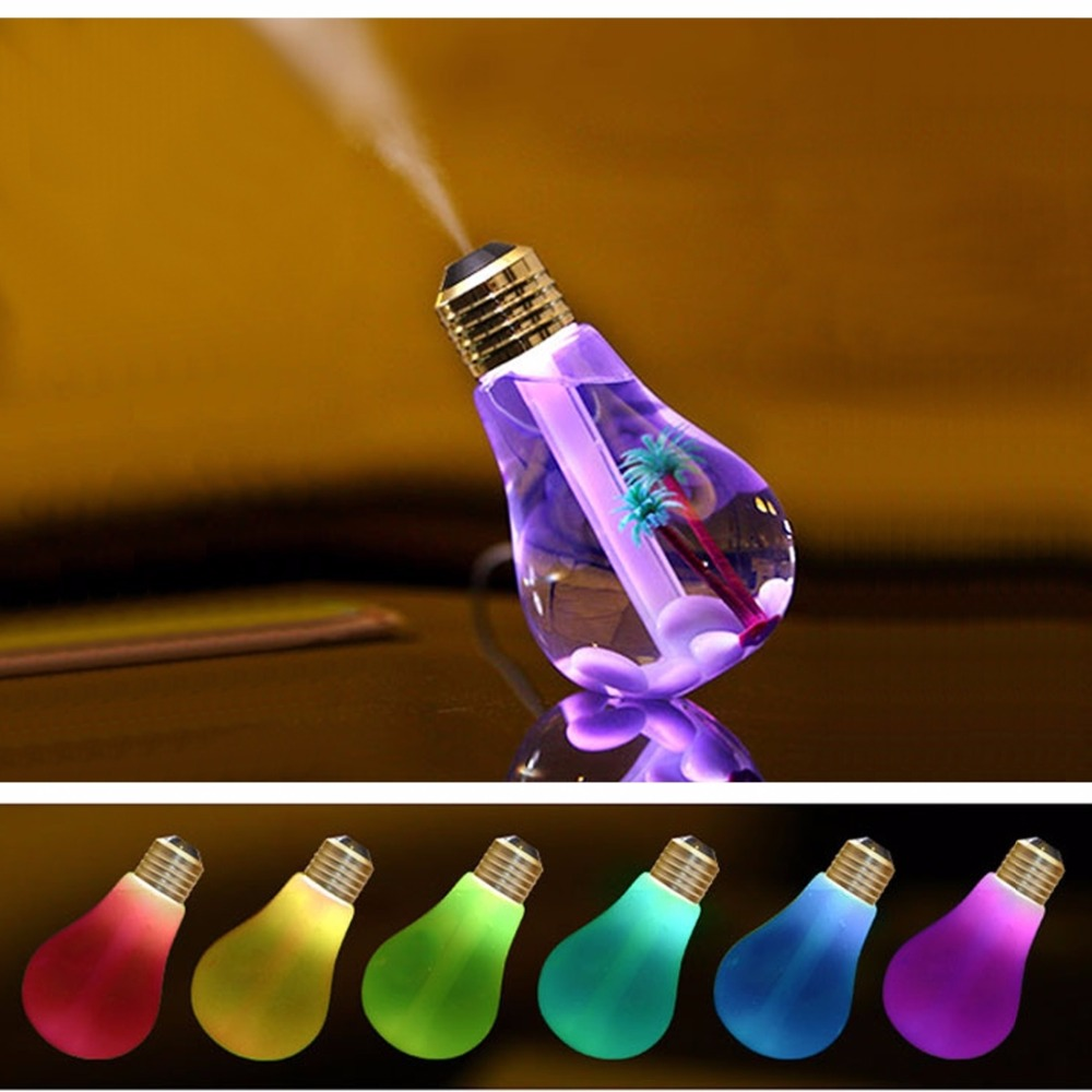 Colorful Light Portable Bulb Shape Aromatherapy <font><b>Air</b></font> <font><b>Purifier</b></font> Humidifier for Home Office Car