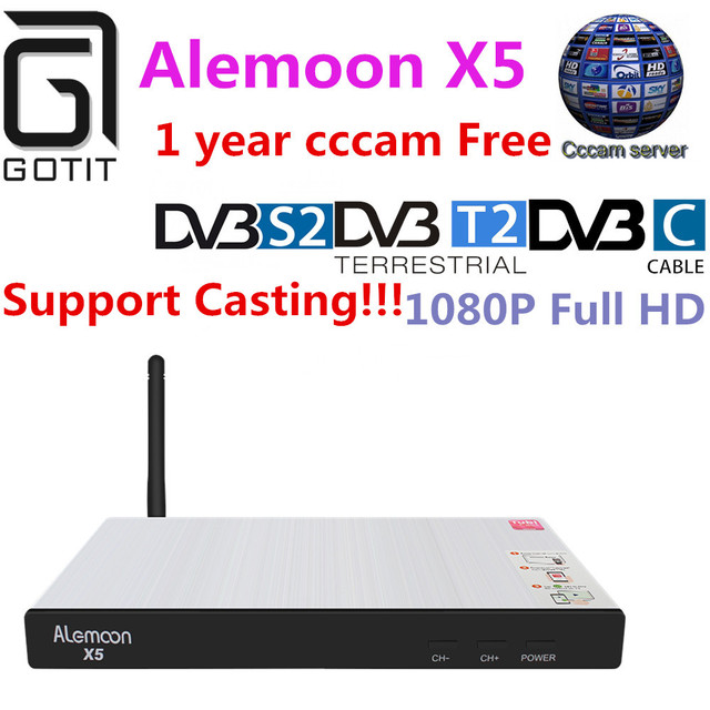ALEMOON X5 DVB Combo decoder DVB-S2/T2/C Smart Receiver Casting + 1year Europe Spain Poland Italy Portugal 4 CCcam Clines