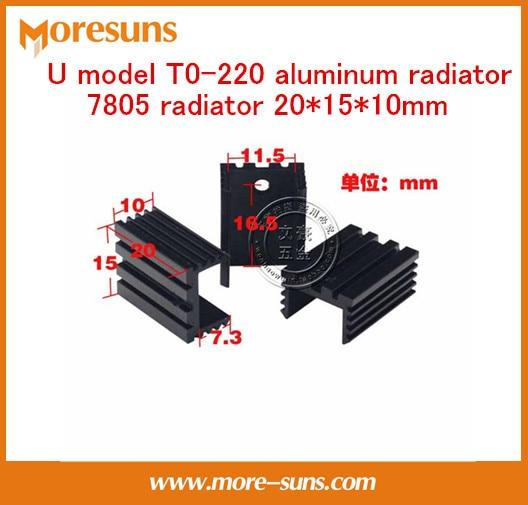 Fast Free Ship 20pcs/lot U Model T0-220 Aluminum Radiator 7805 Radiator 20*15*10mm Black Heatsink