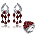 2017 New Wedding party Accessories Wedding Jewelry Sets siam red water drop stone Earrings with ring sets