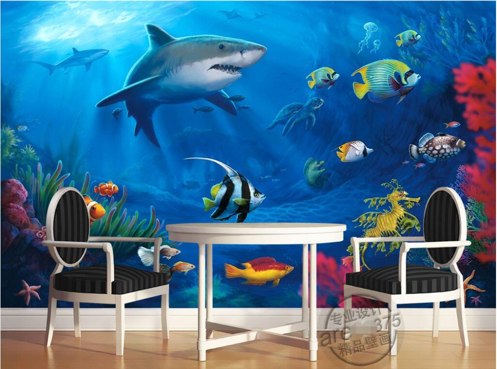 Custom photo 3d room wallpaper Non-woven mural sea world shark 3d wall murals wallpaper for walls 3 d decoration painting шапка женская roxy fjord paradise pink