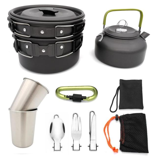 Outdoor Cookware Set Camping Tableware Cooking Carabiner Travel Tableware Cutlery Utensils Hiking Picnic Set Camping Cookware 1