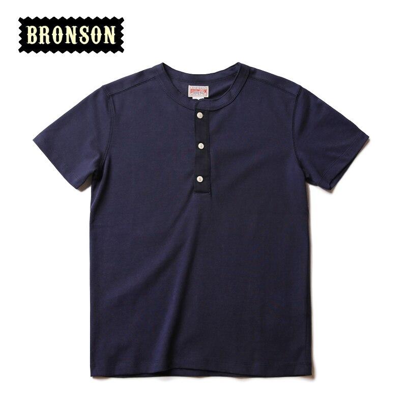 Bronson Henley Tee Shirts For Men Summer Vintage Cotton T-Shirts Short Sleeve