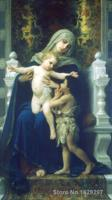 Canvas Paintings for living room The Virgin Jesus and Saint John Baptist William Adolphe Bouguereau High quality Hand painted