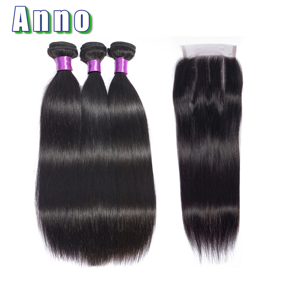 Annowig Brazilian Straight Hair Bundles With Closure Natural Color 3 Bundles With Lace Closure Non Remy Human Hair Extensions