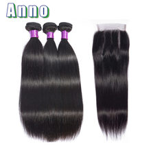 Annowig Brazilian Straight Hair Bundles With Closure Natural Color 3 Bundles With Lace Closure Non Remy Human Hair Extensions(China)