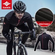Santic Windproof Cycling Jersey Men Thermal Fleece Cycling Jacket Antiskip Silica Hem Outdoor Sports Jacket Full Size M-4XL