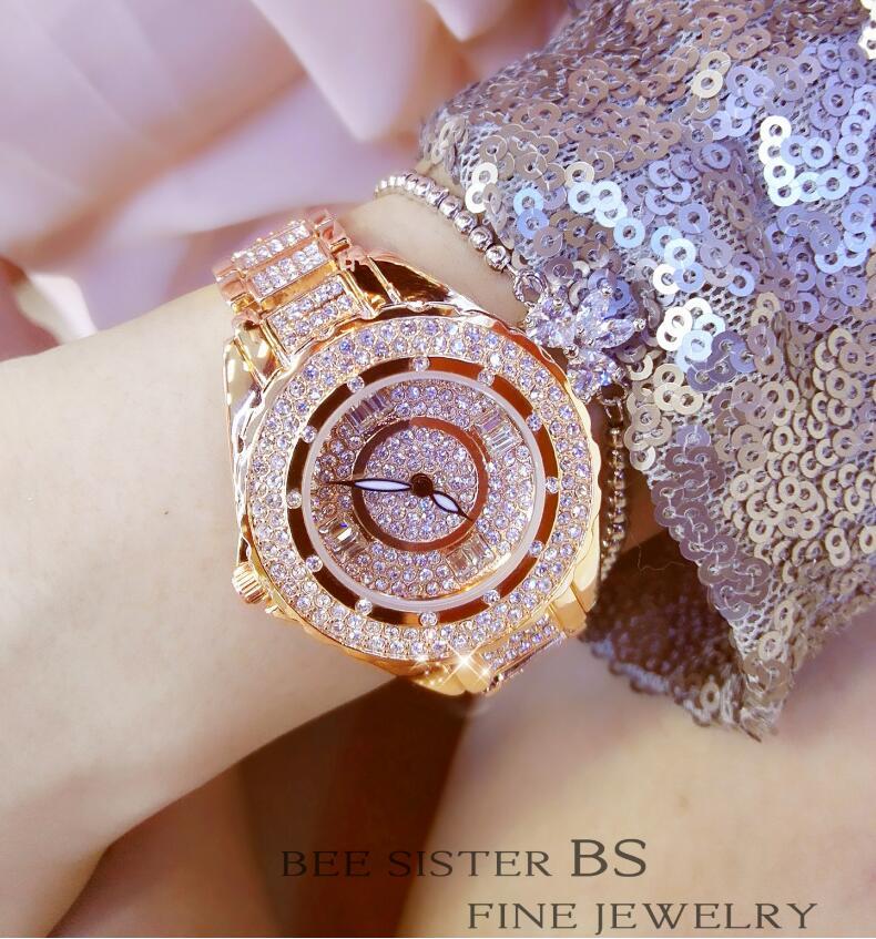 2019 Hot Sale Women Watches Lady Diamond Stone Dress Watch Gold Silver Stainless Steel Rhineston Wristwatch Female Crystal Watch 5