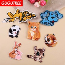GUGUTREE embroidery dogs cats rabbit patches squirrel panda badges applique for clothing YX-298