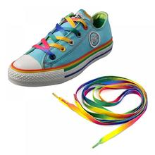 Shoe Lace Rainbow Canvas Colour Flat Casual-Chromatic 1pair 110cm Print Polyester