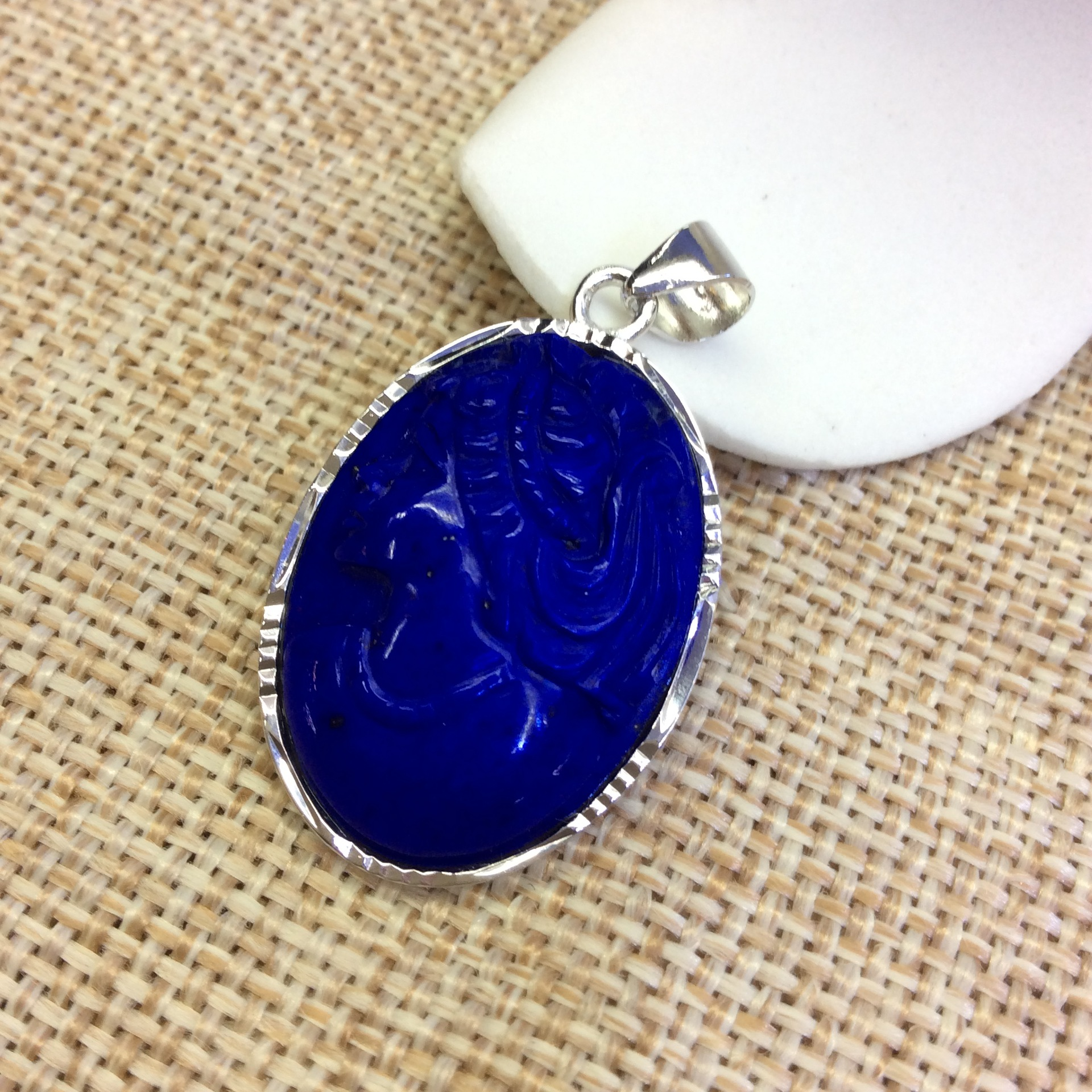 S925 silver inlaid pure nature of Afghanistan lapis lazuli goddess carved head car, Flower Pendant товары для дома flower goddess $5 20 b053