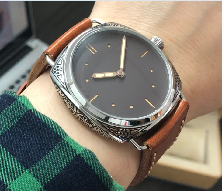 47mm GEERVO Asian 6497 17 jewels Mechanical Hand Wind movement Carving decorative pattern case Mechanical watch