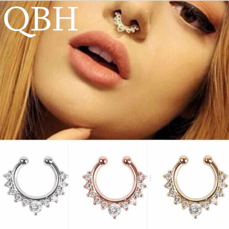 EK165 New Crystal Clicker Fake Septum For Women Clip Hoop Nose Ring Faux Piercing Gold Silver Plated Men Girl Gift Body Jewelry