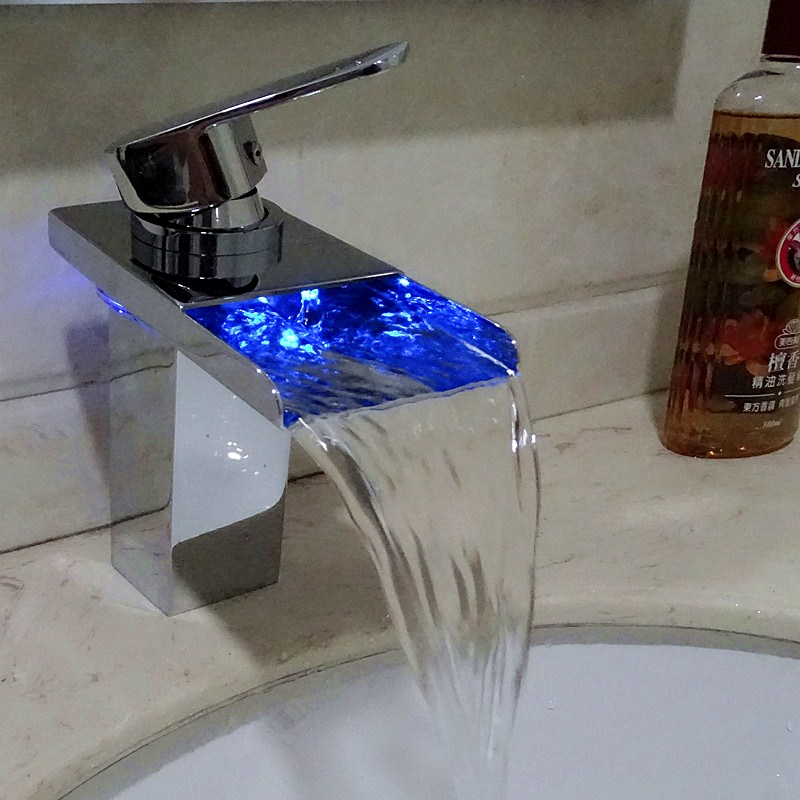 Single Handle Faucet 3 Color LED Brass Finish Waterfall Home Bathroom Bathtub Sink Mix Tap Shower Room Product