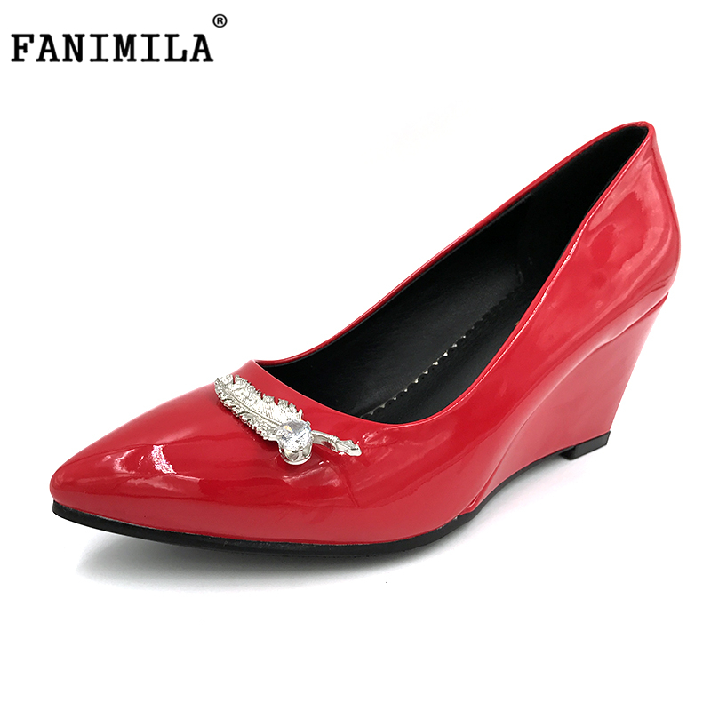 FANIMILA New Women Pointed Toe Wedge Shoes Woman Sexy Shallow Mouth High Heel Pumps Ladies Office Court Heels Shoes Size 32-42 koovan women pumps 2017 spring new shallow mouth pointed shoes heel pearl buckle with high heeled ladies shoes