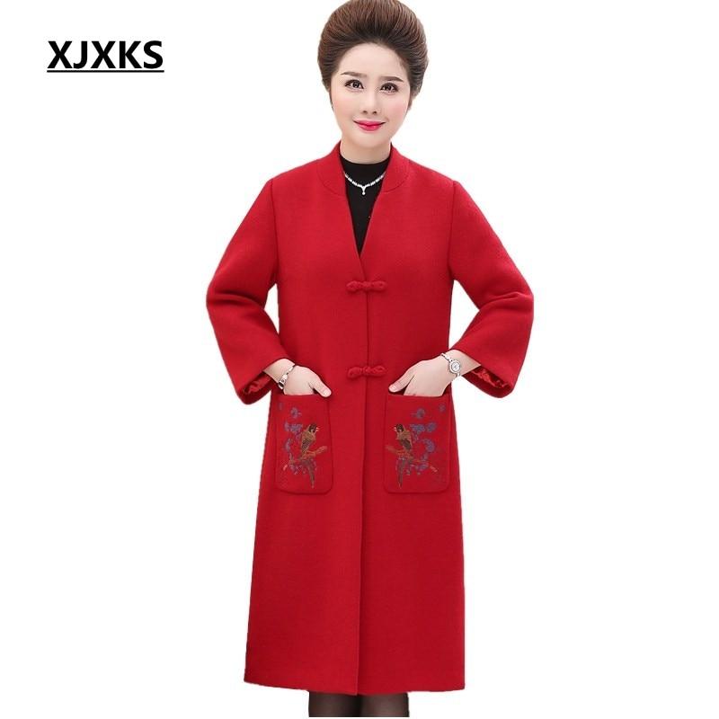 vert Mode Cachemire 2018 Broderie Vêtements Manteaux Femme Femmes Vestes rouge Noir Épais Laine Et D'hiver Chaud Xjxks Mère 7AaqxIt7w