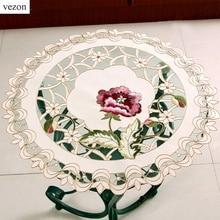 Vezon горячий Круглый элегантный полиэстер цветочные салфетки коврик с вышивкой скатерть вышитые салфетки чехлы на коробки для салфеток